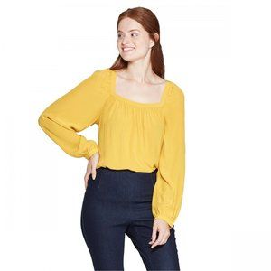 A New Day Yellow Square Neck Long Sleeve Blouse